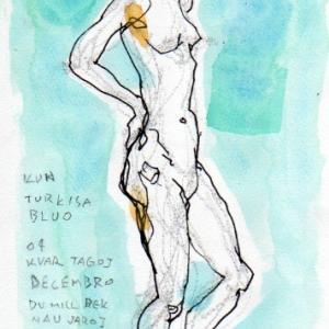 裸婦クロッキー ペン 透明水彩