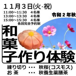 【募集】11/3(火・祝)練り切り作り体験教室