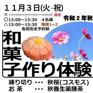 【募集】【残席わずか】11/3(火・祝)練り切り作り体験教室