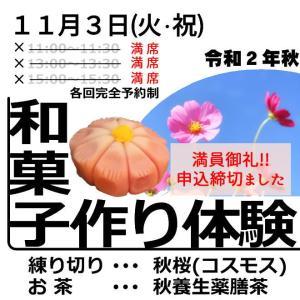 【満員御礼】11/3(火・祝)練り切り作り体験教室 申し込み締め切りました!