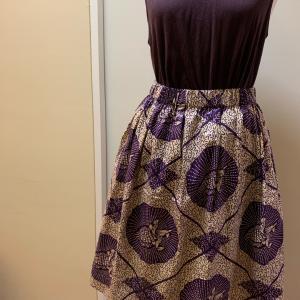合わせやすい柄アフリカ布のふんわりスカート②
