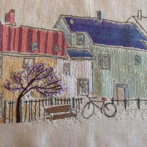 通信講座カリキュラム フリー刺繍、アッシジ刺繍完成です