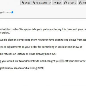 iliacの仕入れに遅延でお詫びメール Email apologizing for the delay in purchasing iliac leather materials