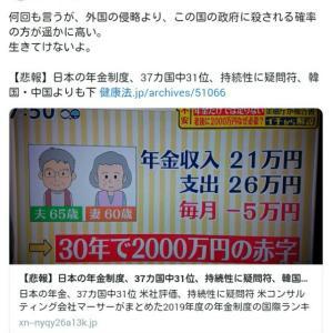 【悲報】日本の年金制度、37カ国中31位!持続性に疑問符、韓国・中国よりも下 !外国の侵略より、この国の政府に殺される確率の方が遥かに高い、生きてけないよ!
