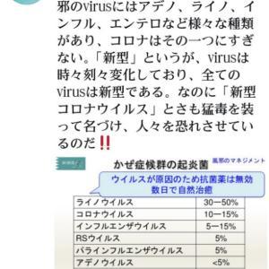 コロナとはただの風邪である【新型コロナウイルス】と名づけ、さも猛毒を装って人々を恐れさせているのだ【新型】というが【virus=ウイルス性疾患】は時々刻々変化しており、全ての virusは新型である!