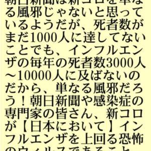 新型コロナ【単なる風邪】をどう否定するのか?小林よしのり!朝日新聞らは新コロを単なる風邪じゃないと思っているようだが、死者数がまだ千人に達してないことでもインフルエンザの毎年の死者数約10000人に