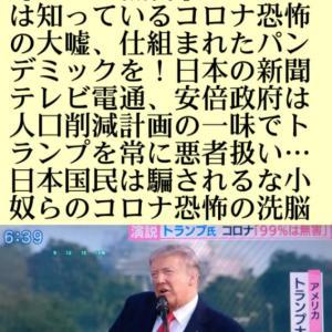 名演説!トランプ大統領、コロナ感染しても【99%は無害】トランプは知っているコロナ恐怖の大嘘、仕組まれたパンデミックを!日本の新聞テレビ電通、安倍政府は人口削減計画の一味!トランプを常に悪者扱い…