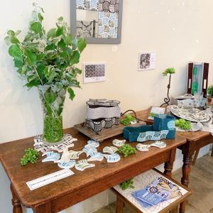 【展示会作品】布箱とタイル展 作品レポ3 リーフ柄の生地デザインを活かした作品