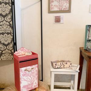 【展示会作品】布箱とタイル展 作品レポ5 ジュイ柄生地で作った作品