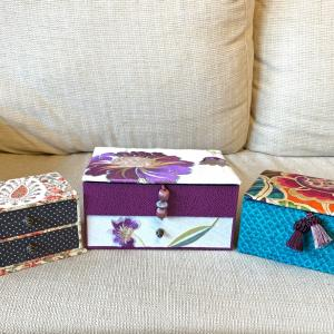 【レッスン風景】出張レッスン 個性色々、素敵な布箱完成
