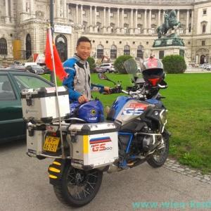 中国からウィーンまでバイクで来た人に出会った