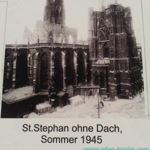 シュテファン大聖堂の屋根が戦災で焼け落ちた時の写真