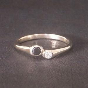 オーダーメイド! K10YG ダイヤモンド&ブラックダイヤモンドリング!