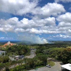 近くで山火事なのでバルコニーBBQ中止/ Wildfire at Leo Palace Resort
