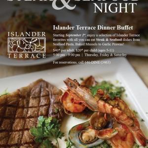 """ヒルトングアム、アイランダーテラスのステーキ+シーフードナイトでバフェディナーデート/ Dinner at Islander Terrace Hilton Guam """"Steak + Seafood Night"""""""