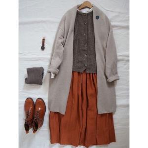 12/17 レンガ色のリネンスカートとSM2のカーデでナチュラルコーデ