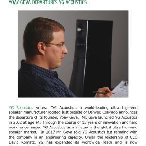 YG Acoustics社、創業者のYoav Geva氏の退任を発表。
