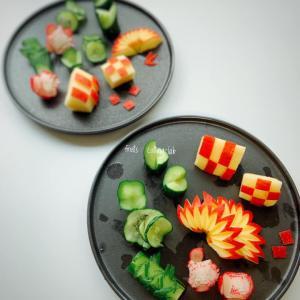 レッスンレポート~リンゴの飾り切り 野菜の飾り切り~フルーツカッティングラボ
