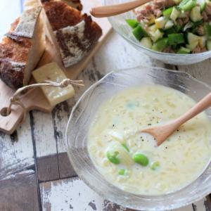冷たいスープと夏パンランチ