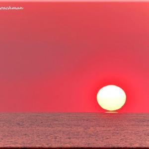 雄冬の夕陽
