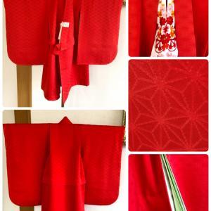 麻の葉の抱着を真っ赤に染めて三歳お祝い着に、小紋のきものを被布にお仕立て!〈お客様の声〉
