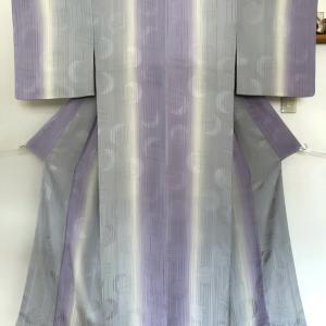 グレーと紫に染め分けられた縞小紋のお仕立て!