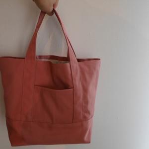 ポケットが便利!裏地付きの帆布トートバッグを作りました。