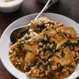 豚肉&ニラ入りあんかけ塩麹豆腐
