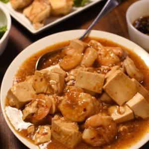 豆腐とエビのピリ辛炒め&唐揚げ風の油淋鶏