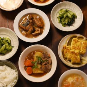 マルチ調理器で作った肉じゃが他、和食なおかずが並んだ日