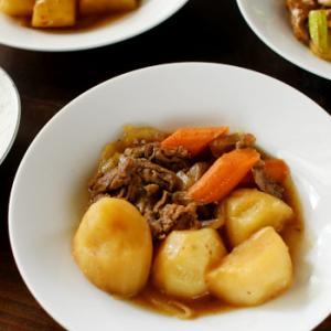 無水肉じゃがと、セロリ&豚肉のバルサミコ酢炒め