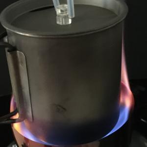 問い合わせの風防V-450(Ti ペグ付)の燃焼テスト