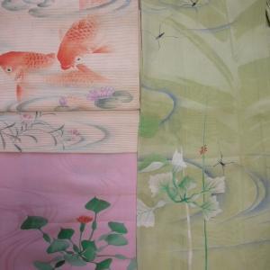 菱の着物に鯉の帯