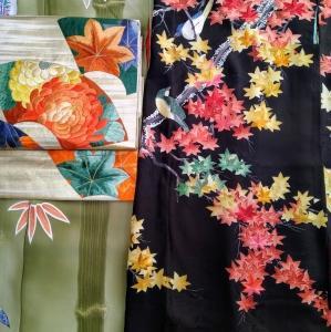 竹の着物に鳥と紅葉の羽織