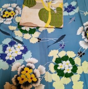 菱の花の着物にホテイアオイの帯