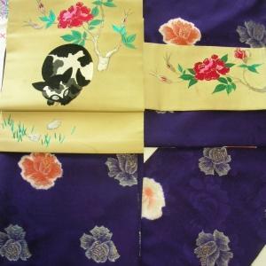 薔薇の着物に猫の帯