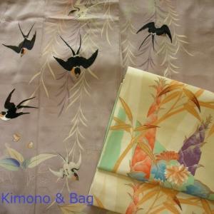 ツバメの着物に筍の帯