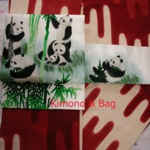 壺垂れの着物にパンダの帯