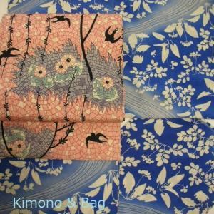 春の花の着物にツバメの帯