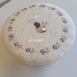 カルトナージュの丸い箱、紫のヨガマット