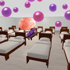 物体の異空間→グミの異空間→異空間の施設→ベッドルーム→夢現異空間に文字列、グミ、脳みそ