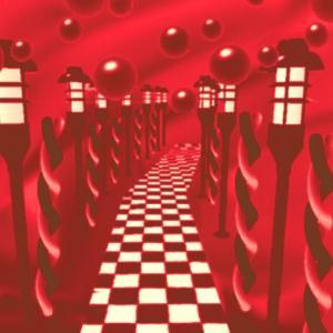デパート→異空間広場→異空間温泉→物体の異空間→赤黒タイル通路→広いエリア→夢現異空間