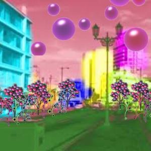 異空間の街中→デパート→異空間広場→家の近くの街中→雪通路→物体の異空間→ネオン花の異空間→夢現