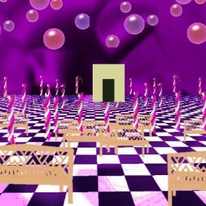 どっかの家の中→物置部屋→異空間の階段→紫の広場→万華鏡通路→夢現異空間