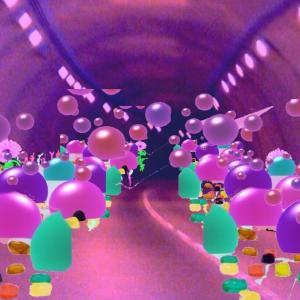 グミの異空間→街中→異空間トンネル→グミエリア→たまごどんぶり→スマホで撮った異空間