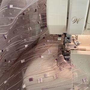 刺繍入りオーガンジーでカーテン作り♪