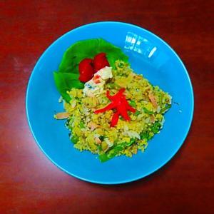 マイブーム 小松菜炒飯の昼食。。。