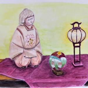 水彩画 「童人形」