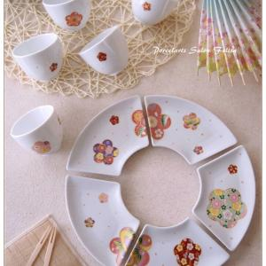 ◆限定転写紙で♪花紋柄の和食器セット◆