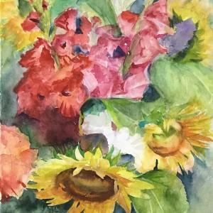 水彩画「夏の花」2点